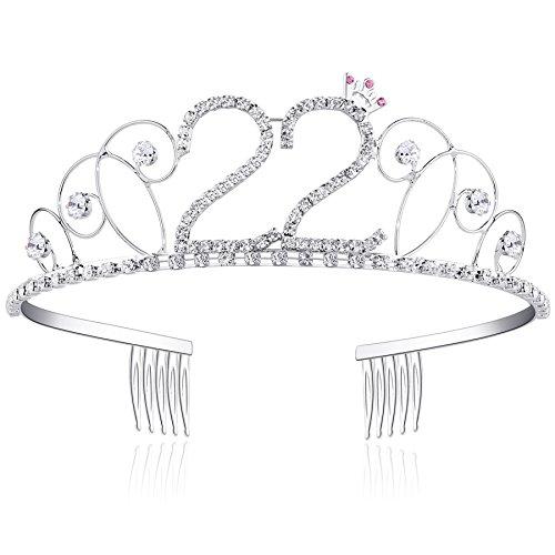 burtstag Tiara Birthday Crown Prinzessin Kronen Haar-Zusätze Silber Diamante Glücklicher 16/18/20/21/30/40/50/60/70/80/90/100 Geburtstag (22 Jahre alt) (Geburtstag Prinzessin Krone)