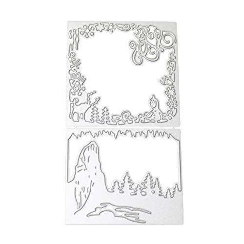 Landschaft Grenze (Tvvudwxx Landschaft Grenze Stanzschablonen Metall Schneiden Schablonen Für DIY Scrapbooking Album Schneiden Schablonen Papier Karten Sammelalbum Dekor)