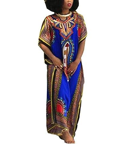 Rcool Afrikanischen Print Kurzarm Kleid gerade Print Kaftan Freizeitkleidung Blau für Damen (XL) (Leder Echtes Album)