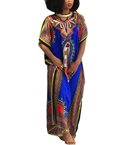 Rcool Afrikanischen Print Kurzarm Kleid gerade Print Kaftan Freizeitkleidung Blau für Damen (M) (Afrikanischer Kaftan)