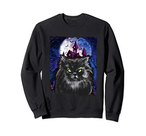 Für Menschen Scary Schwarze Kostüm - Scary Halloween Schwarze Katze Kostüm Fledermaus Spukhaus Sweatshirt