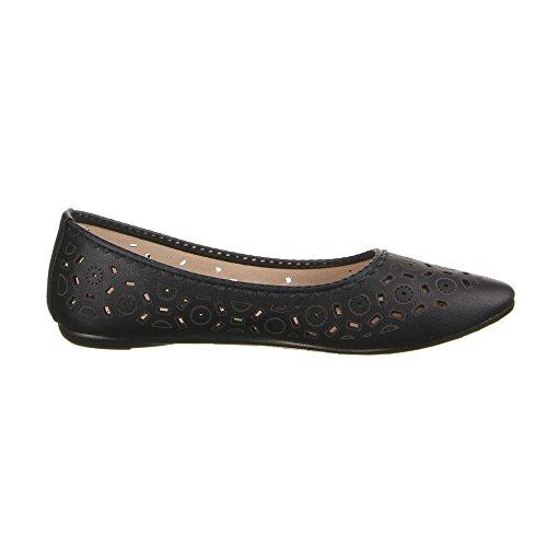 Damen Schuhe, RU5015, BALLERINAS PERFORIERTE HALBSCHUHE SLIPPER Schwarz