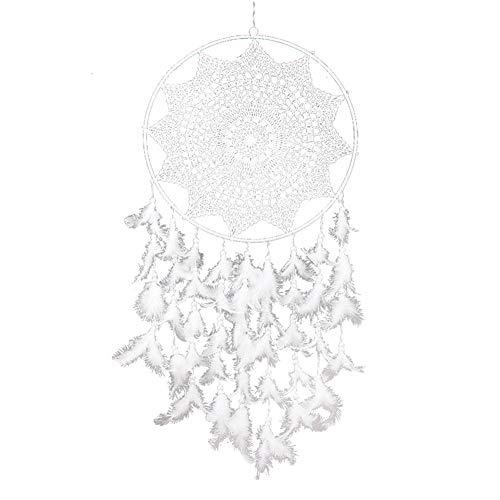 Ototon - Atrapasueños con Plumas Huecas Indias, atrapasueños, Color Blanco, Colgante, decoración para casa, Pared, Ventana