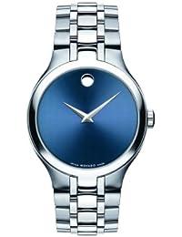 MOVADO MEN'S 38MM STEEL BRACELET & CASE SWISS QUARTZ BLUE DIAL WATCH 0606369