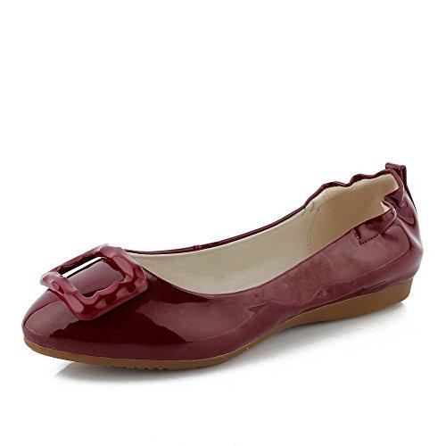 AllhqFashion Femme Couleur Unie Pu Cuir à Talon Bas Rond Chaussures à Plat Rouge Vineux