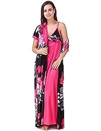 Freely Satin Full Robe & Nighty/Nightdress/Night Suit Set - Pack of 2
