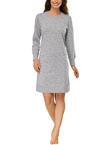 Schiesser Damen Nachthemd Sleepsh.1/1, 90cm, brushed Grau (grau-mel. 202)