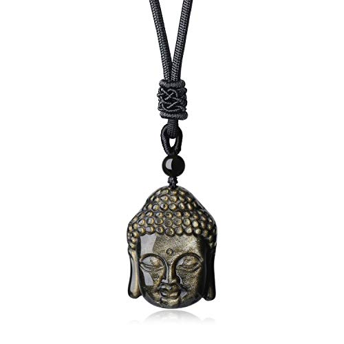 coai Unisex Geschenkideen Buddha Kopf Anhänger aus Obsidian Gold Buddhistische Glückskette