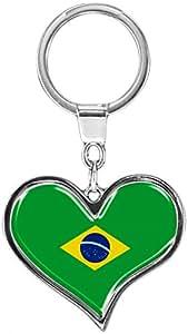 """Premium Schlüsselanhänger in Herz - Form """"Flagge Brasilien"""""""