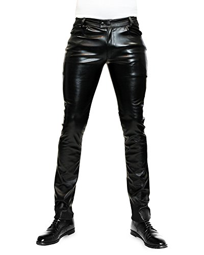 Bockle® 1991 Stretch Faux Lederhose Lederjeans Skinny Tube Jeans Slim Low Leather Pants Schwarz