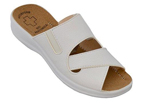 Damen Pantolette Arbeitsschuhe Medizinische Schuhe Sandalen Komfort Kork Hausschuhe Arbeit Leicht und Bequem (41, Weiß)