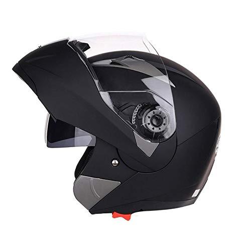 ZHIXX MALL Cool Motorradhelm,Klapphelm Integralhelm ,Sonnenschutz Roller Sturz Helm - Double Lens Helm (Matt-schwarz, L)
