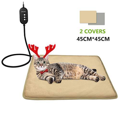 OMORC Manta Eléctrica para Gatos Interior, 2 Covers, Almohadilla Térmica Mascotas conTermostato, 12V...