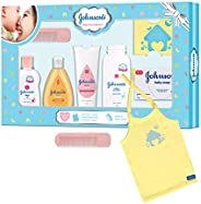 Johnson's Baby Care Collection Baby Gift Set with Organic Cotton Baby T-Shirt (7 Pie