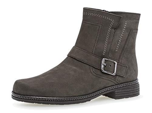 Gabor Damen Biker Boots 94.672,Frauen Stiefel,Stiefelette,Halbstiefel,Bikerstiefelette,Bootie,hoch,Blockabsatz 2.2cm,F Weite (Normal),anthrazit,UK 6.5