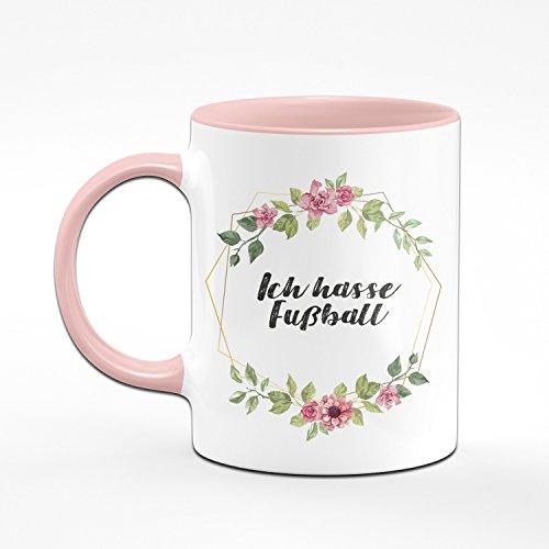 Tasse Ich Hasse Fussball - Kaffeetasse rosa - Anti Fußball - Geschenk für Kollegin/Arbeitskollegin - Scheiss Fussball - Anti Fussballer - 2