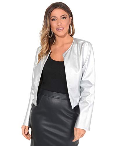 Krisp donna giacca corta bolero manica lunga taglie forti leggera elegante sera, argento, l, 4432-sil-l