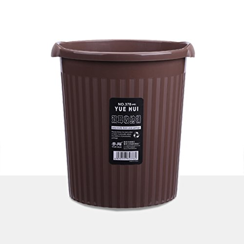 NJCG Küche Mülleimer, Badezimmer Schlafzimmer Kunststoff Runde Haushalts Mülleimer braun