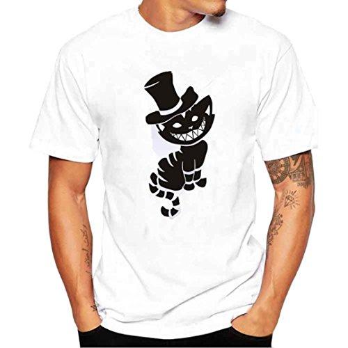 Angebote,Neue Deals,Herren T-Shirt Ronamick Männer Druck Katzen Tees Shirt Kurzarm T Shirt Bluse (Weiß, 2XL) - Neue Herren T-shirt Tee