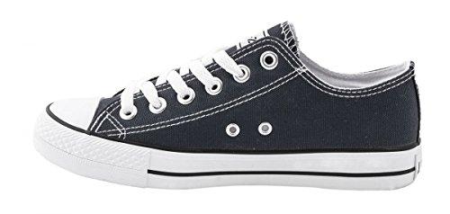 Elara Unisex Sneaker | Bequeme Sportschuhe für Damen und Herren | Low top Turnschuh Textil Schuhe 36-46 Dk Grey