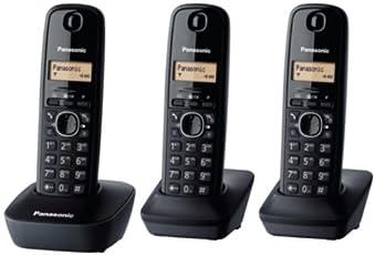 Panasonic KX-TG1613 KX-TG1613NEH Cordless Phone (Black) - Set of 3