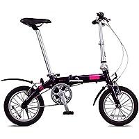 XMIMI Bicicleta Plegable Bicicleta de aleación de Aluminio Ultraligera de una Sola Velocidad Bicicleta Plegable, Hombres y Mujeres Bicicleta pequeña portátil de 14 Pulgadas