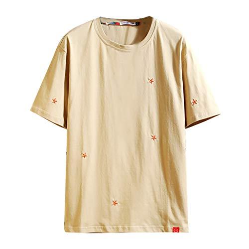 fiosoji Herren Sommer Casual Volltonfarbe Oansatz Kurzarm T-Shirt Baumwollhemd Atmungsaktiv Stehkragen Slim Top Bluse -