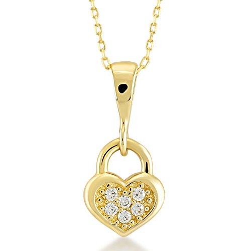 Damen Halskette 14 Karat / 585 Gelbgold Herzschloss mit Steinen als Anhänger | 14k Gold Love Lock Necklace | Kettenlänge 45cm