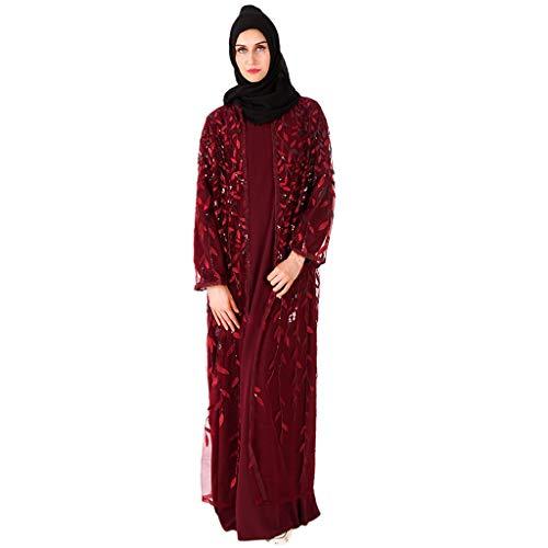 Lucky Mall Frauen Pailletten Islamisch Kittel, Damen Muslim Kleidung Sommer Lange Ärmel Ramadan Bluse Mittlerer Osten Saudi Arabisch Traditionell Ethnische Kleidung