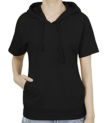 ililily Basic Solid Color Short Sleeve Pullover Hooded Cotton Top Sweatshirt Black