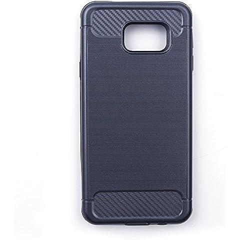 iProtect® - Custodia Protettiva in TPU per Samsung Galaxy S6 - Cover in Fibra di Carbonio color Argento