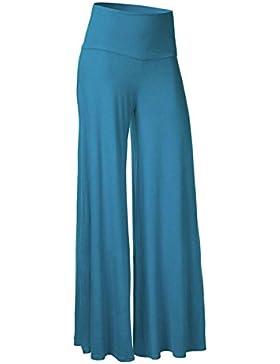 [Patrocinado]LANMWORN Mujer Pantalones Anchos, Cintura Alta Casual Loose Palazzo Pantalones 6 Colores