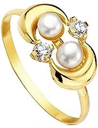 Sortija oro 18k perla multipiedra [AB3116]