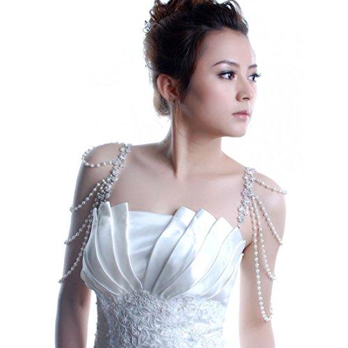 BH Schmuckträger BH Träger silber mit klaren Strass-Kristallen und weißen Perlen