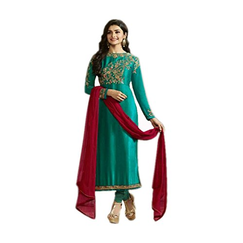 Aryan Fashion Women\'s Georgette Semi-Stitched Dress Material (Afs-Er-Er10731_Green_Free Size)
