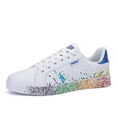 ed39d5d775f7ff JEDVOO Homme Femme Sneaker Low Top Turnschuhe Sportschuhe Freizeitschuhe  Bunte Stoffschuhe(XCX800Blue35)