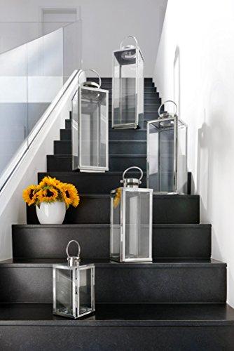 home+ Laterne aus Edelstahl - Rostfrei, wetterfest - in verschiedenen Größen (flach), Größe:30 cm