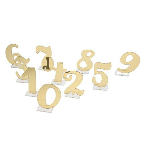 SunniMix 0 9 Acryl Tischnummer Freistehend Für Hochzeitsfeier Rezeption Dekor - Gold