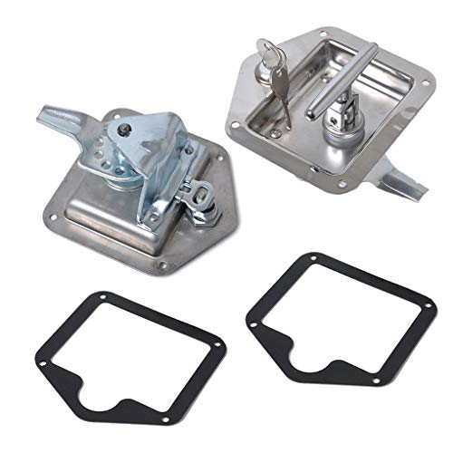 Uzinb 2PCS/Set Trailer Caravan Canopy Toolbox Lock Folding T Handle Lock Stainless Steel Flush Mount Tool Box Lock Flush-mounting Box