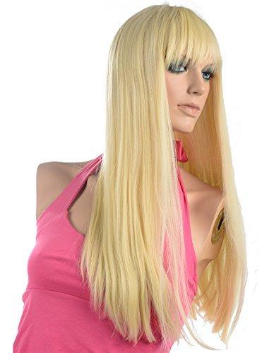Namecute Perücke Blond Lang Hitzebeständig Perücke mit Pony Peruecken Glatt Blond Perücken ,Freie Perücke (Barbie Perücken Erwachsene Für)