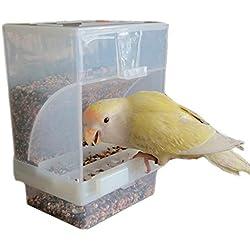 Hypeety Chargeur Automatique de Bird Pas de saleté pour Animal Domestique Mangeoire Nourriture Perchoir Cage Accessoires pour Perruche ondulée Perruche canari Finch cacatoès