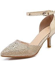 GGX/ Zapatos de mujer-Tacón Stiletto-Tacones / Puntiagudos-Tacones-Boda / Vestido / Fiesta y Noche-Vellón / Purpurina-Negro / Rojo / Plata / , golden-us9 / eu40 / uk7 / cn41 , golden-us9 / eu40 / uk7 / cn41