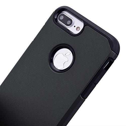 Case Cover Duplice Ibrido per iPhone 7 Plus (5.5 pollici), HB-Int 3 in 1 Stampato Design PC + Silicone ibrido Impatto Grande Difensore Custodia Combo Duro Morbido Cases Covers [Completa Design & Anti- Grigio
