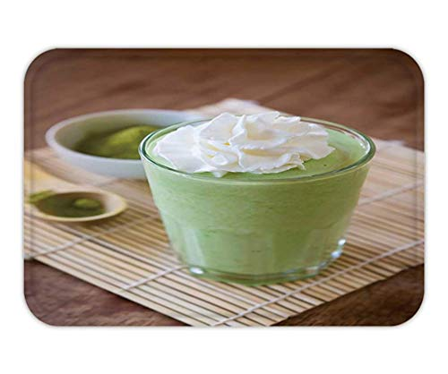Doormat Green Tea Smoothie Blended Beverage with Whipped Cream Matcha Powder and Spoon