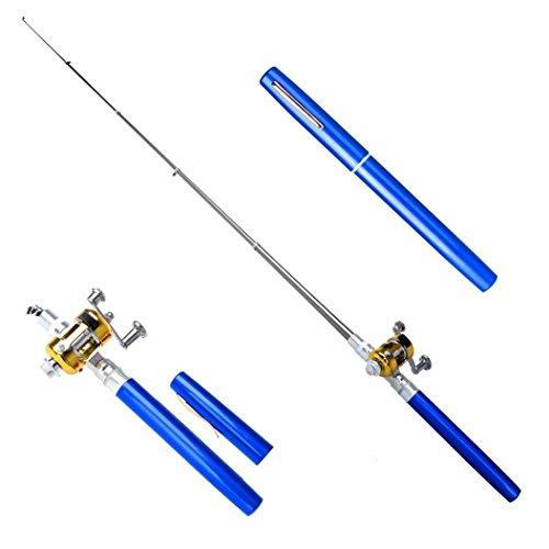 Pocket Fisch Rute Set 21cm Retractable Fisch Pole Reel Combo Portable Metall blau PEN Form Spinning Angelrute Pole ideal Mini Größe Outdoor Angeln Set, blau