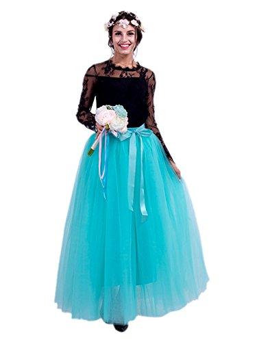 Honeystore Damen's Tüllrock Lang 5 Layer Prinzessin Kleider Lang Petticoat Ballettrock Maxi Unterrock Pettiskirt Lang One Size Minze