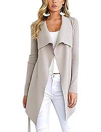 Minetom Damen Herbst und Winter Elegant Mäntel Trench Coat Outwear  Wasserfall Schnitt Jacke Lang Kurz dünner 8be3d6e559