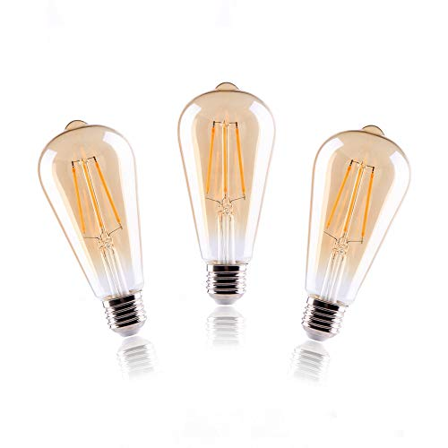 Elinkume 8 W E27 LED-Leuchtmittel, stufenlos, dimmbar, Vintage-Leuchtmittel, kein Flackern, ST64-Stil, warmweiß, 3er-Pack -