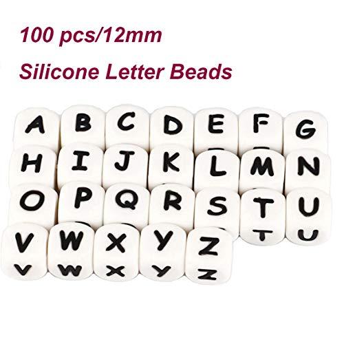 Dummy-Kette machen Ihre eigenen Silikon Buchstaben 12mm Mix 100pcs Kinderkrankheiten Perlen Kit personalisierte Name Baby Kinderkrankheiten Schnuller Clips DIY Bulk Set (Custom, 100pack)