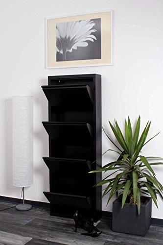 lifestyle4living Schuhkipper schwarz aus Metall hat 4 synchron öffnende Klappen, schmaler Schuhschrank ist 15 cm tief und bietet Platz für bis zu 12 Schuhe